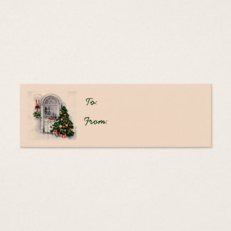 Weihnachtsbaum in den Fenster-Geschenk-Umbauten Mini Visitenkarte