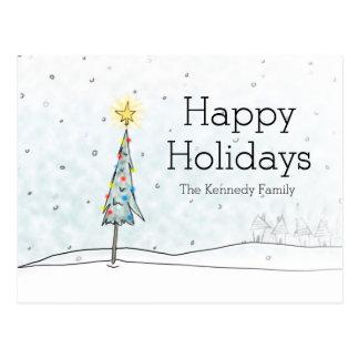 Weihnachtsbaum in den Schneefällen Postkarte