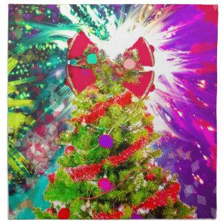 Weihnachtsbaum in den vollen Farben Stoffserviette