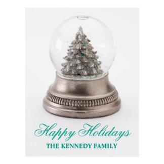 Weihnachtsbaum in der Schnekugel Postkarte