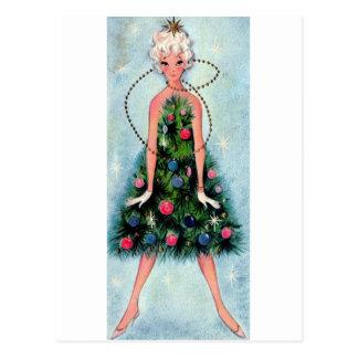 Weihnachtsbaum-Kleid Postkarte