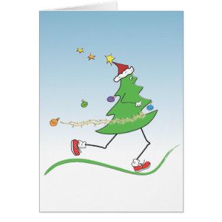 Weihnachtsbaum-Läufer © Karten mit Gruß nach innen