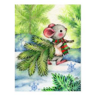 Weihnachtsbaum-MäuseTier-Feiertags-Postkarte Postkarte