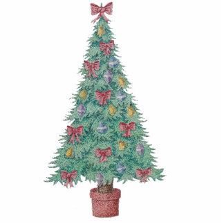 Weihnachtsbaum mit Dekorationsrot beugt Fotoskulptur Ornament