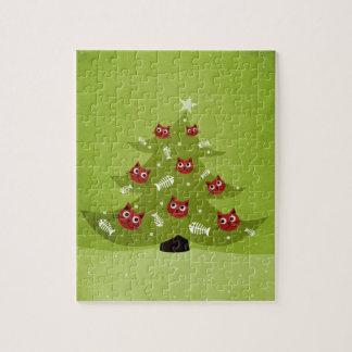 Weihnachtsbaum mit Katzen-und Fisch-Verzierungen Puzzle