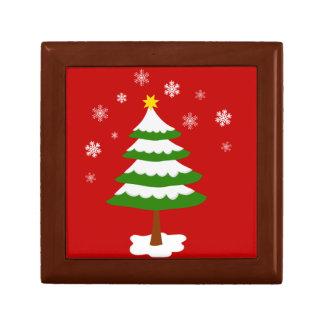 Weihnachtsbaum mit Schnee-Schneeflocken Erinnerungskiste