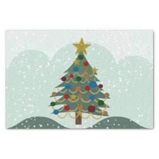 Weihnachtsbaum mit Stern, Birnen und Schnee Seidenpapier