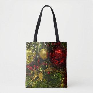 Weihnachtsbaum-Rot u. Gold verziert alle über Tasche