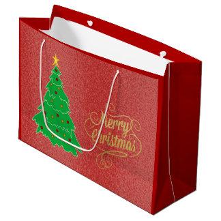 Weihnachtsbaum-roter Feiertags-strukturierte Große Geschenktüte