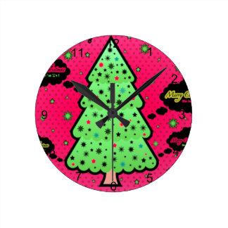 Weihnachtsbaum Runde Wanduhr