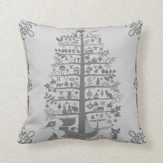 Weihnachtsbaum-Schiff (grau) Kissen