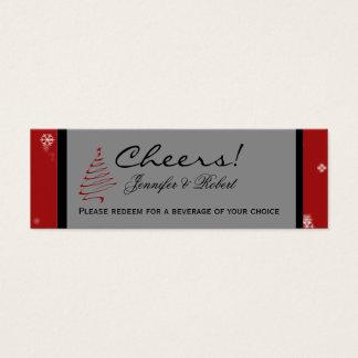 Weihnachtsbaum-Schneeflocke-rote Mini Visitenkarte