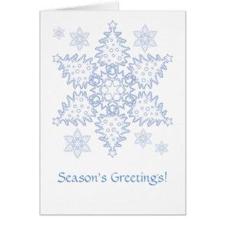 Weihnachtsbaum-Schneeflocken Grußkarte