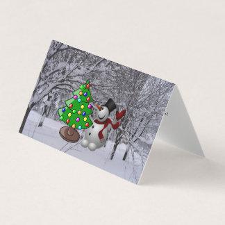 Weihnachtsbaum, Schneemann, Karte