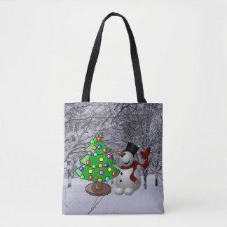 Weihnachtsbaum, Schneemann, Schnee-Szene ganz über Tasche