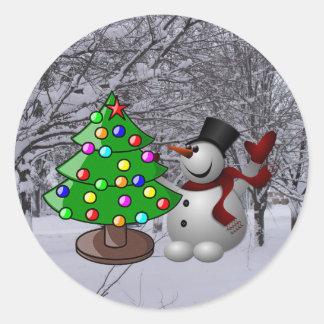 Weihnachtsbaum, Snowman, Runder Aufkleber