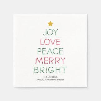 Weihnachtsbaum-Typografie-Weihnachtsserviette Servietten