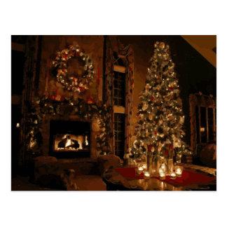 Weihnachtsbaum und Büsche außerhalb des Postkarte
