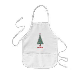 Weihnachtsbaum und Dekorationen und Rotbögen Schürzen