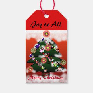 Weihnachtsbaum und Schnee-kundenspezifische Geschenkanhänger