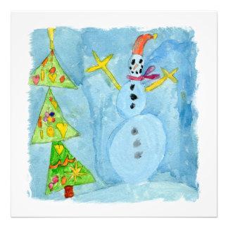 Weihnachtsbaum und Schneemann Fotodruck