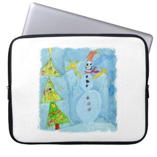 Weihnachtsbaum und Schneemann Laptop Sleeve