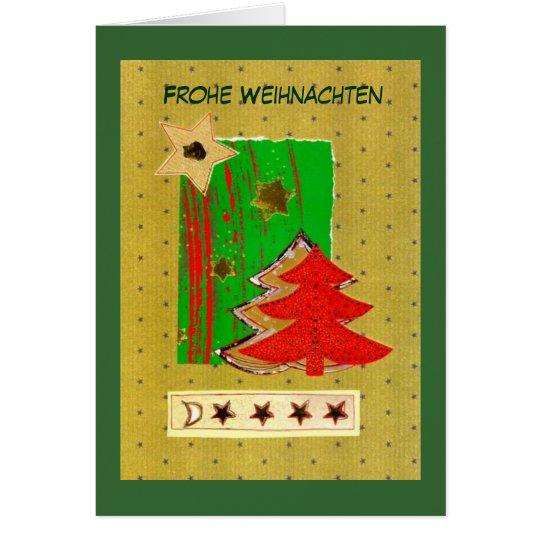 Weihnachtsbaum und Sterne modern in Rot-Gold-Grün Karte