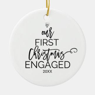 Weihnachtsbaum unser erstes Weihnachten verlobt Keramik Ornament