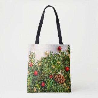 Weihnachtsbaum, Verzierungen u. pinecone Tasche