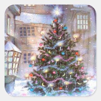 Weihnachtsbaum Vintag Quadratischer Aufkleber