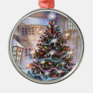Weihnachtsbaum Vintag Silbernes Ornament