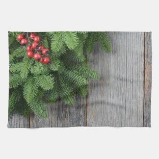 WeihnachtsBaumast mit Stechpalmen-Beere Geschirrtuch