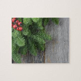 WeihnachtsBaumast mit Stechpalmen-Beere Puzzle