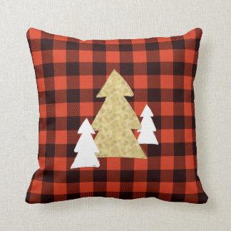Weihnachtsbäume auf rotem kariertem Throw-Kissen Kissen