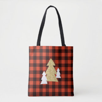 Weihnachtsbäume auf roter karierter Taschen-Tasche Tasche