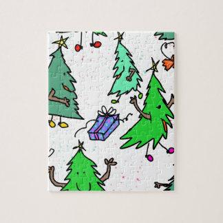 Weihnachtsbäume, die zum Weihnachten fertig werden Puzzle