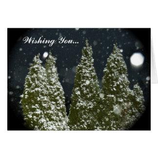 Weihnachtsbäume nachts karte