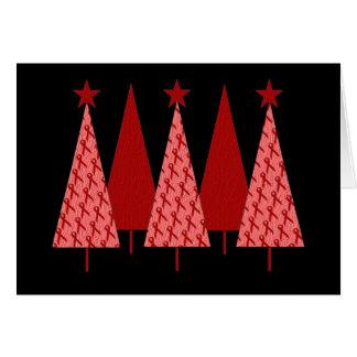 Weihnachtsbäume - roter Band AIDS u. HIV Karte