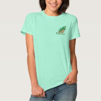 Weihnachtsbäume und Sleigh gesticktes Polo-Shirt Besticktes T-Shirt