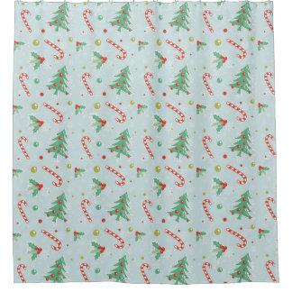 Weihnachtsbäume und Zuckerstangen Duschvorhang