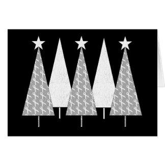 Weihnachtsbäume - weißes Band Karte