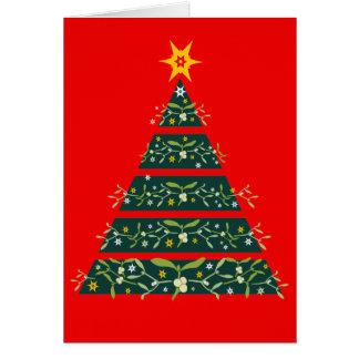 Weihnachtsbaumsaisonkartenrot des Mistelzweiges Karte