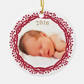 Weihnachtsbeere Wreath-Fotoverzierung Rundes Keramik Ornament