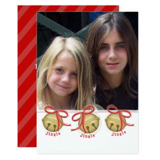 Weihnachtsbell-Doppeltes versah Foto-Karte mit Karte