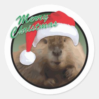 Weihnachtsbiber - klassischer runder Aufkleber, Runder Aufkleber