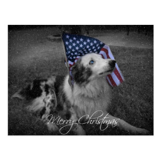 Weihnachtsblaue mit Augen amerikanische Flaggen-Hu Postkarte