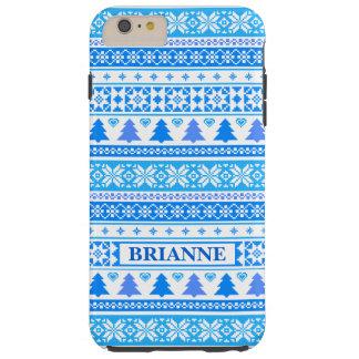Weihnachtsblaue Schneeflocken starke iPhone 6 Tough iPhone 6 Plus Hülle