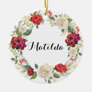 Weihnachtsblumenwreath-Feiertags-Verzierung/Rosen Keramik Ornament