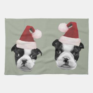 Weihnachtsboston-Terrier Geschirrtuch