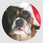 Weihnachtsboxer-Hundeaufkleber Runder Aufkleber